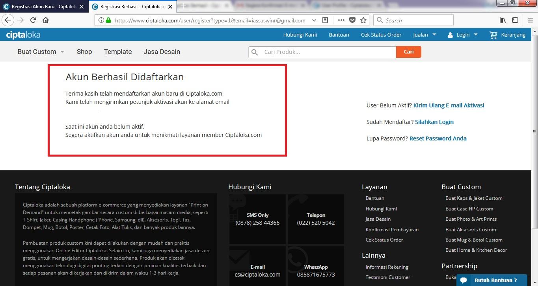 Langkah-langkah Dalam Melakukan Registrasi Akun di Ciptaloka.com