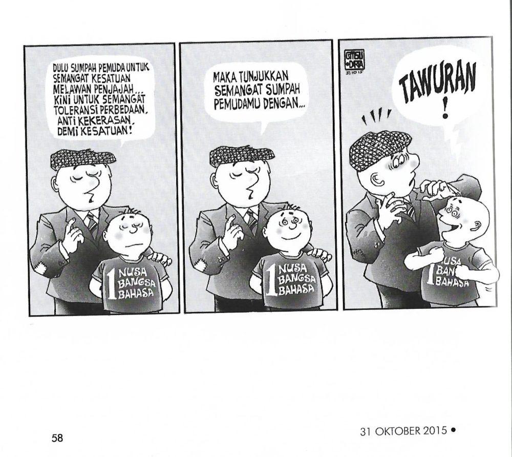 """Salah satu karya terbaik GM Sudarta, nampak tokoh seorang anak memakai kaos bertuliskan """"satu nusa"""""""