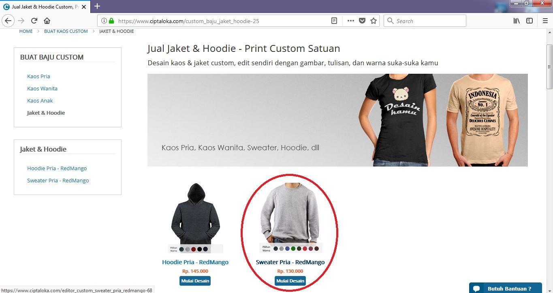 Cukup Lakukan 5 Langkah Ini, Maka Kamu Sudah Bisa Membuat Desain Sweater Online di Ciptaloka.com (Lengkap + Gambar)
